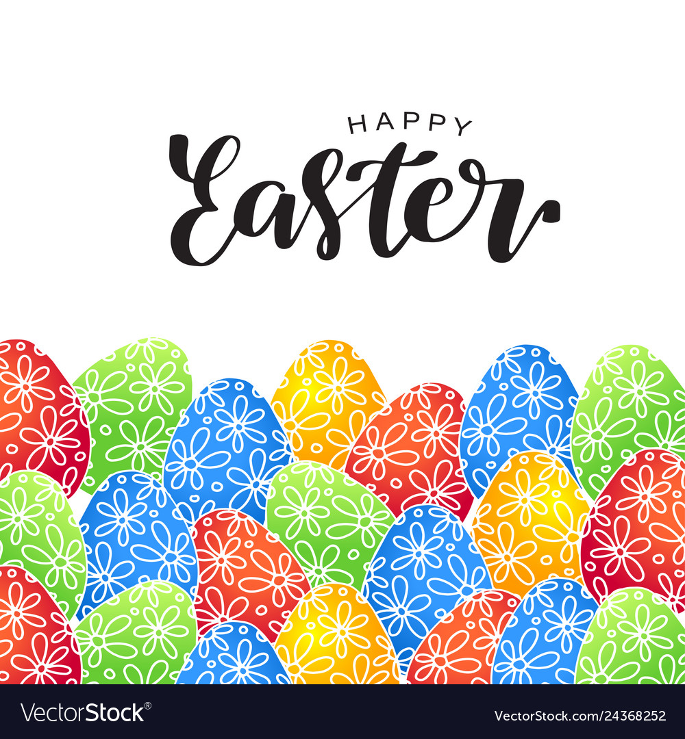 Happy easter lettering card with eggs