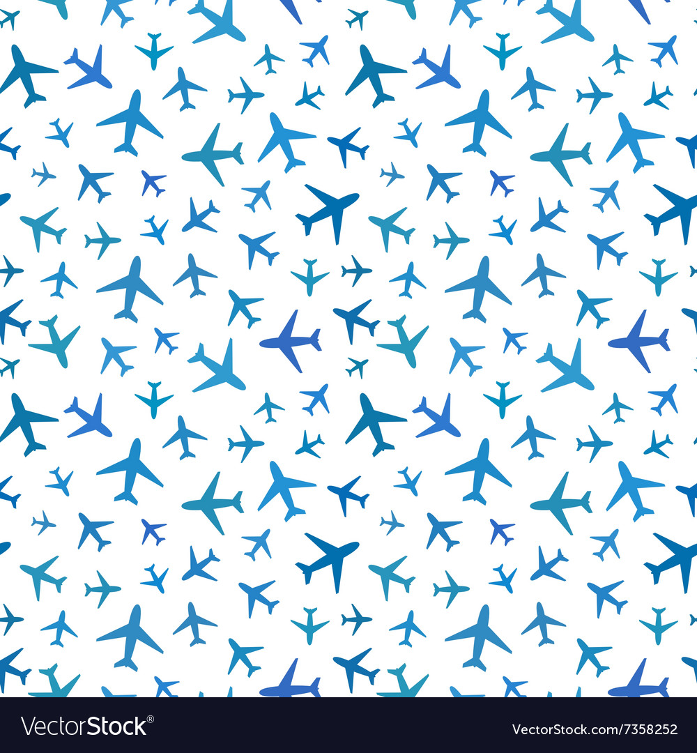 Many blue planes icons on white seamless pattern