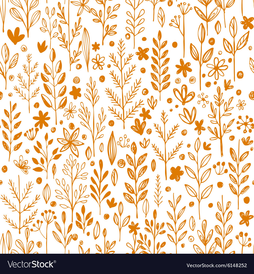 Seamless pattern doodling fall grass design