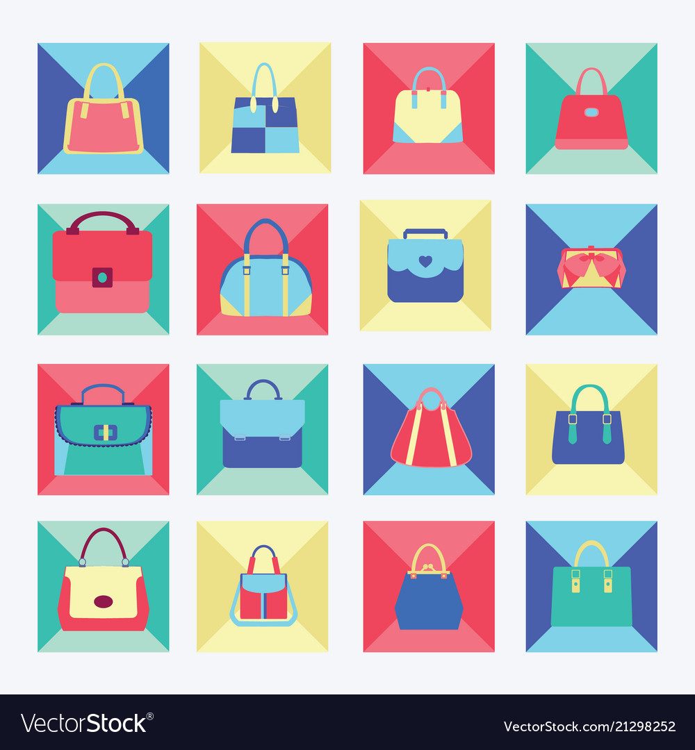 Set icon of collection of women fashion bags