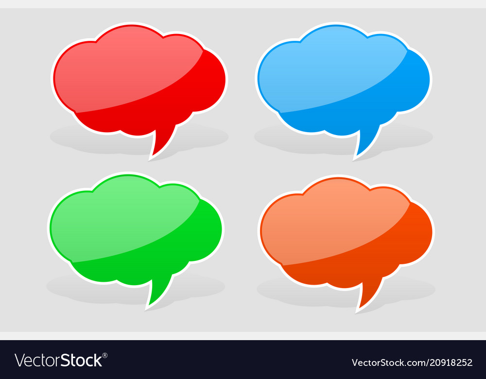 Speech bubbles colored sticker labels with