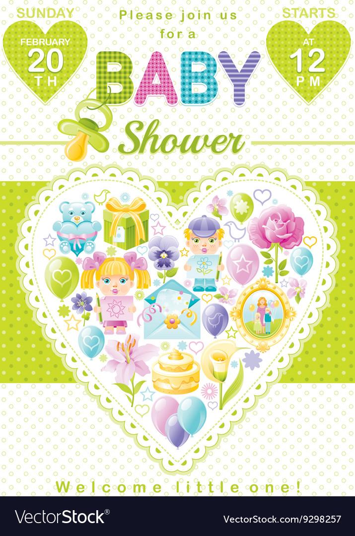 Baby Shower Invitation Design In Unisex Green Vector Image
