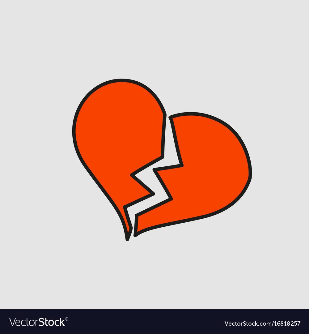 broken heart with crack cartoon sticker in comic vector image rh vectorstock com cartoon broken heart with bandaid cartoon broken heart with bandaid