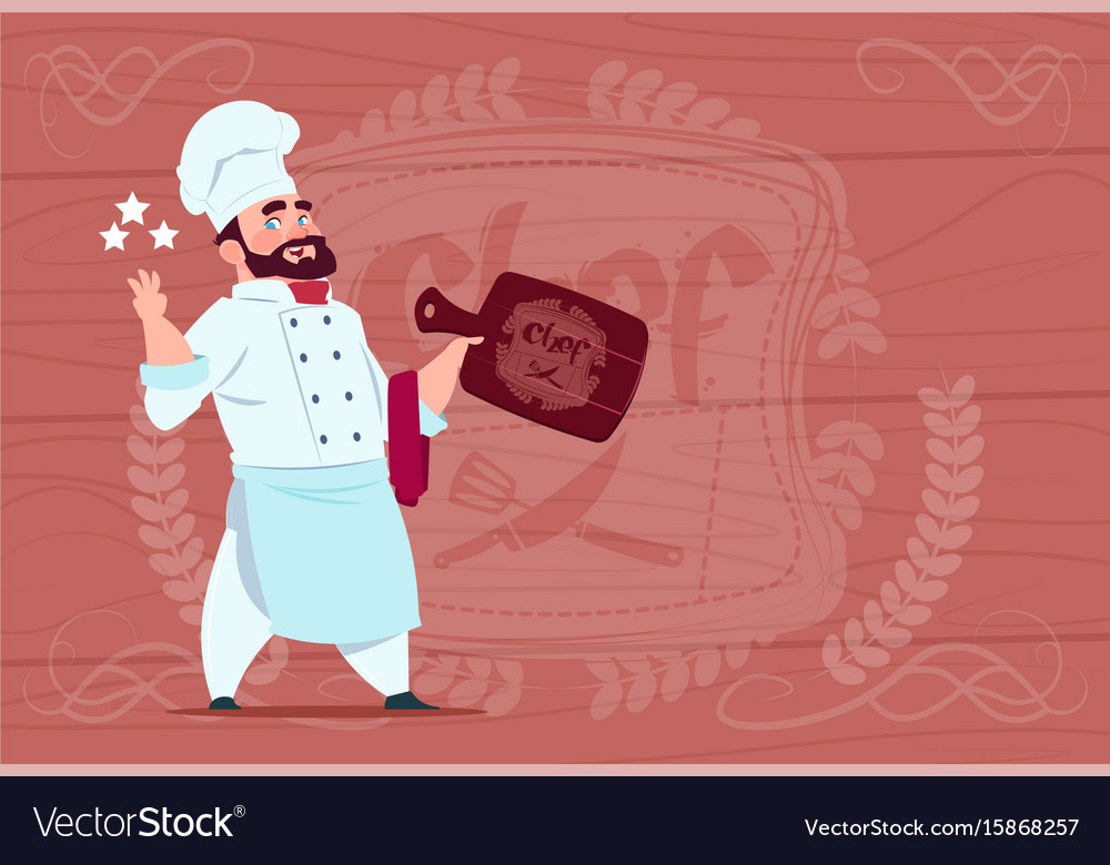 Chef cook hold board smiling cartoon restaurant