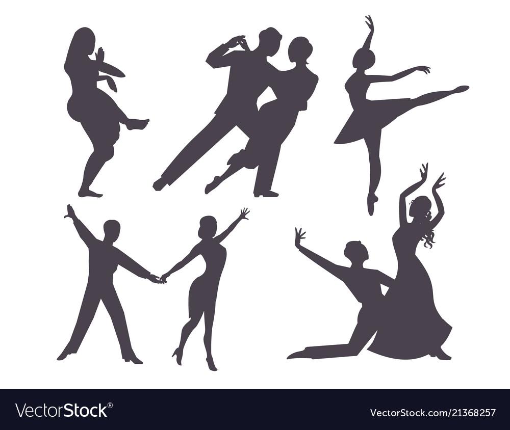 Couples dancing silhouette latin american romantic