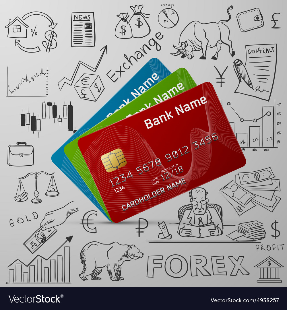 Credit cards and exchange doodle icon
