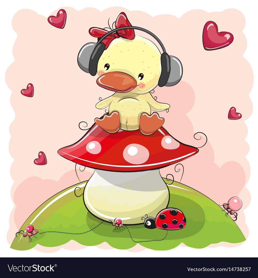 Cute cartoon duck girl with headphones
