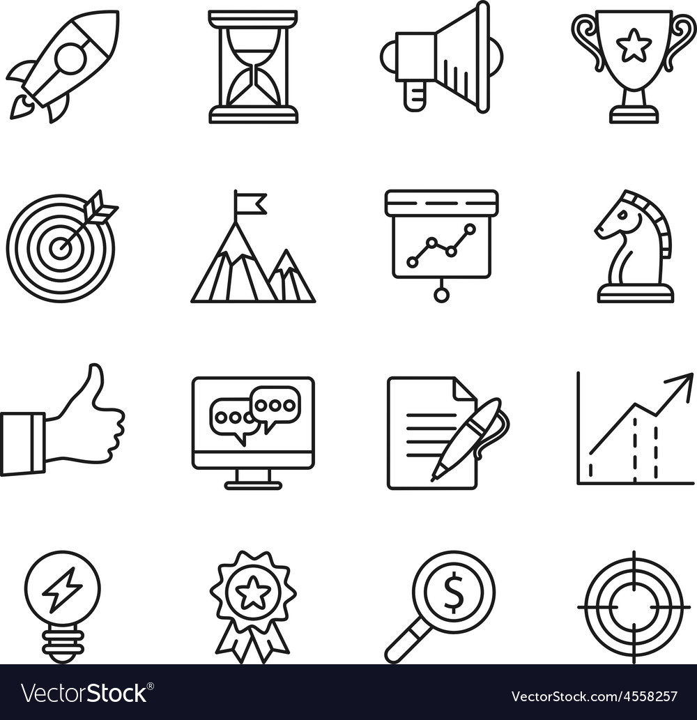 Goal startup business solution icons