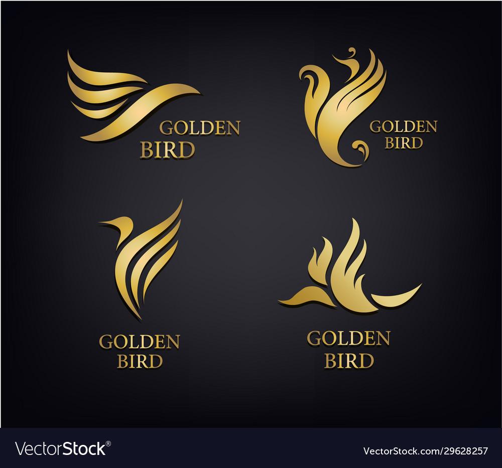 Golden birds set luxury logos isolated
