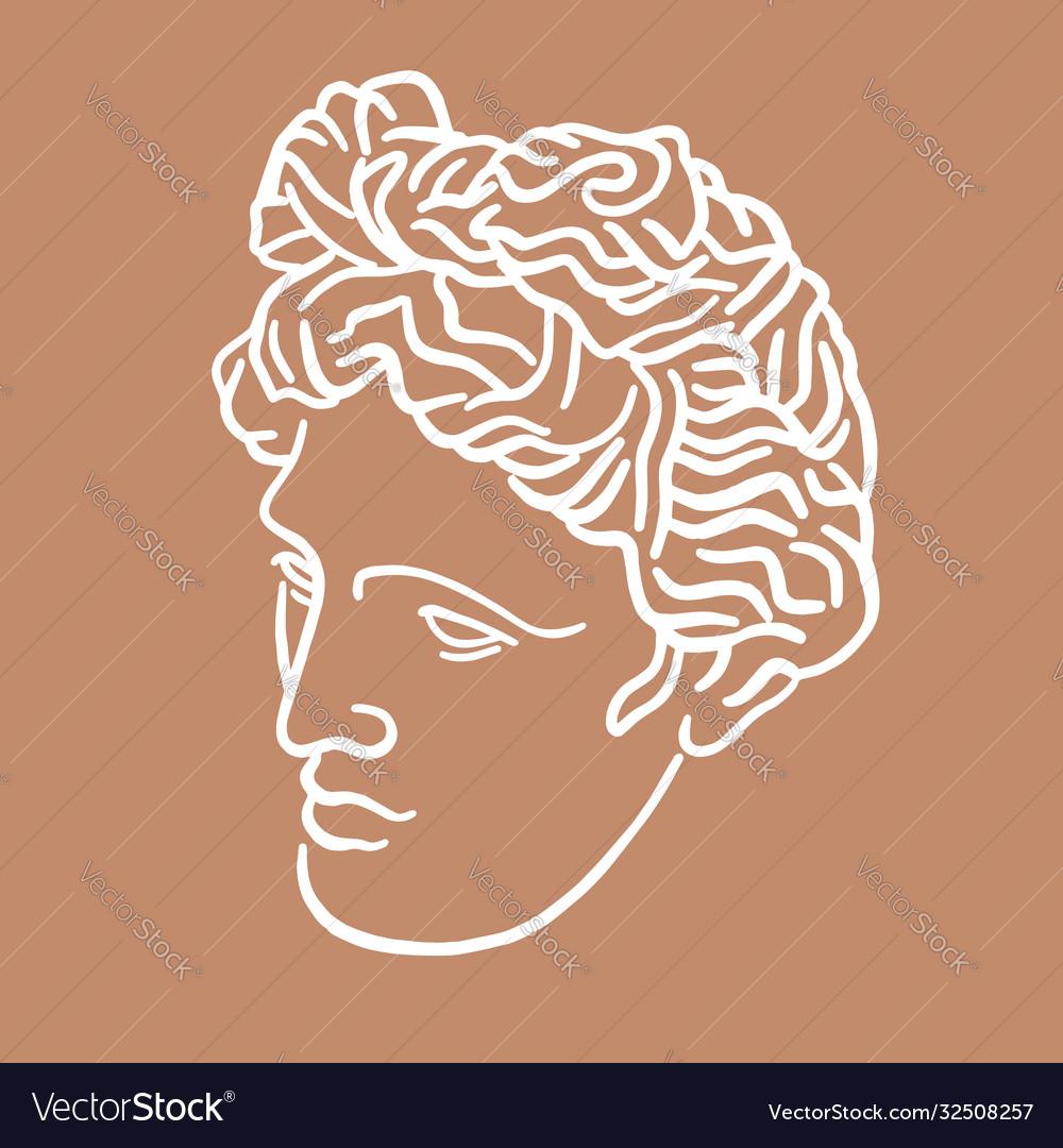 Hand drawn flat antique head