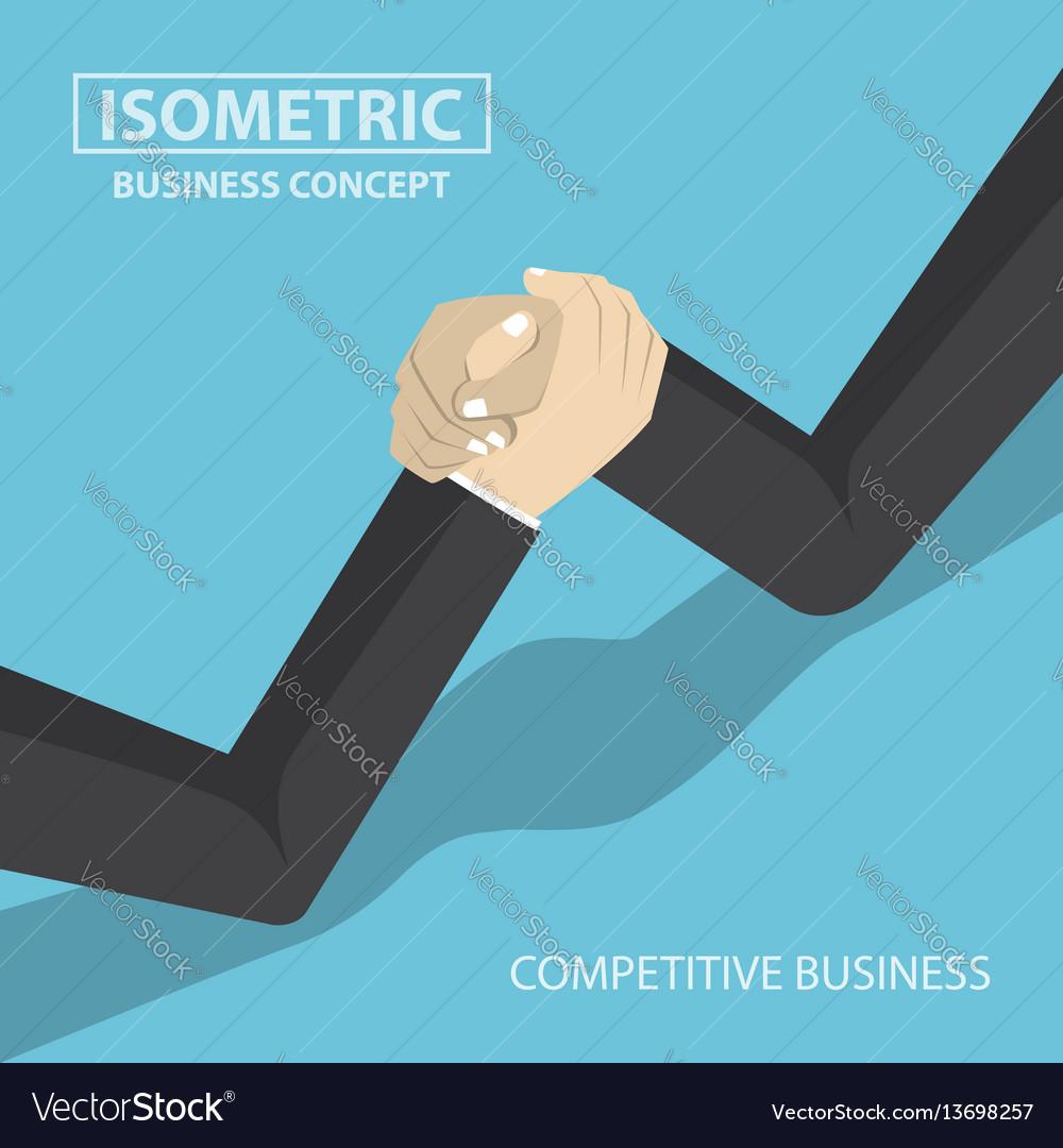 Isometric businessman hands doing arm wrestling vector image
