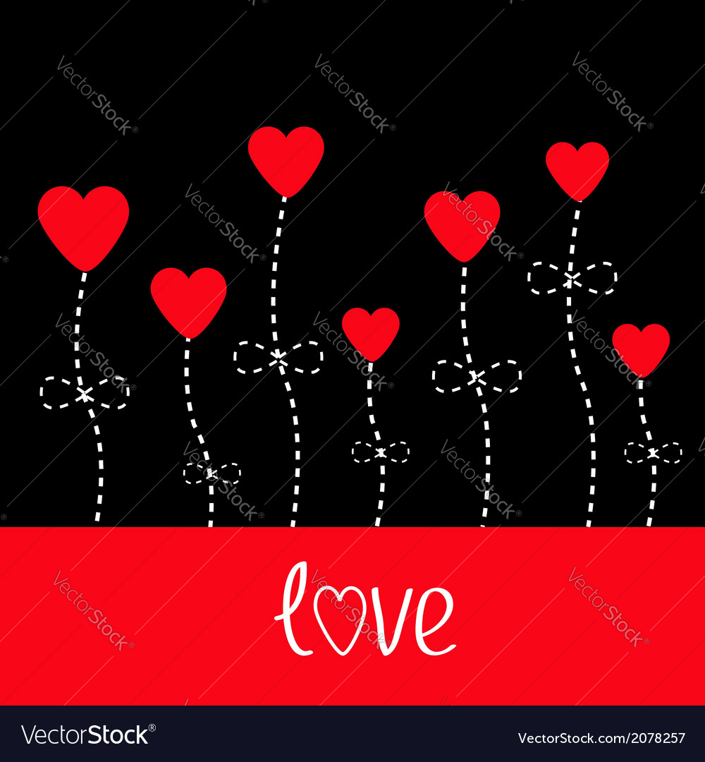 Love card Heart flowers Black and red