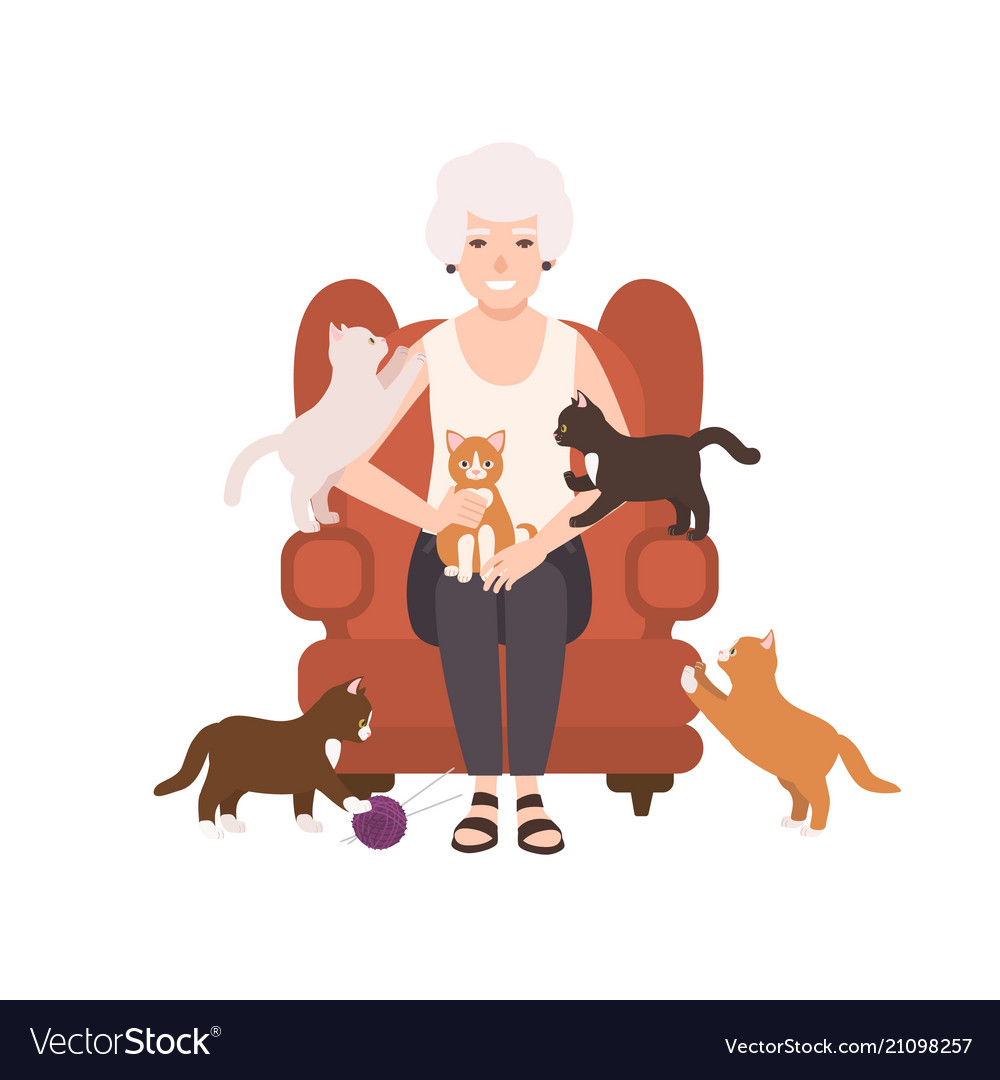 Old happy lady or grandmother sitting in comfy