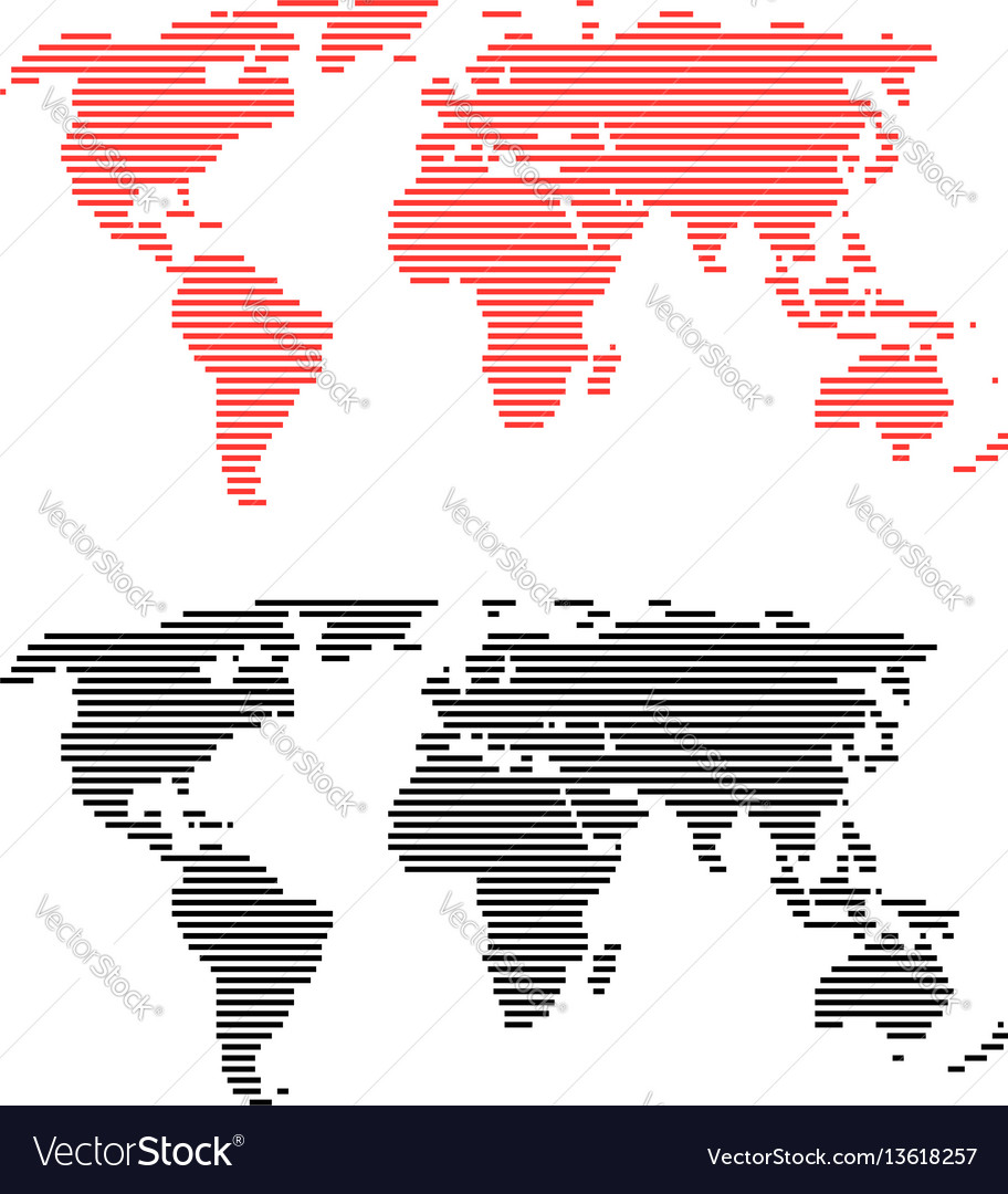 Red and black line world maps