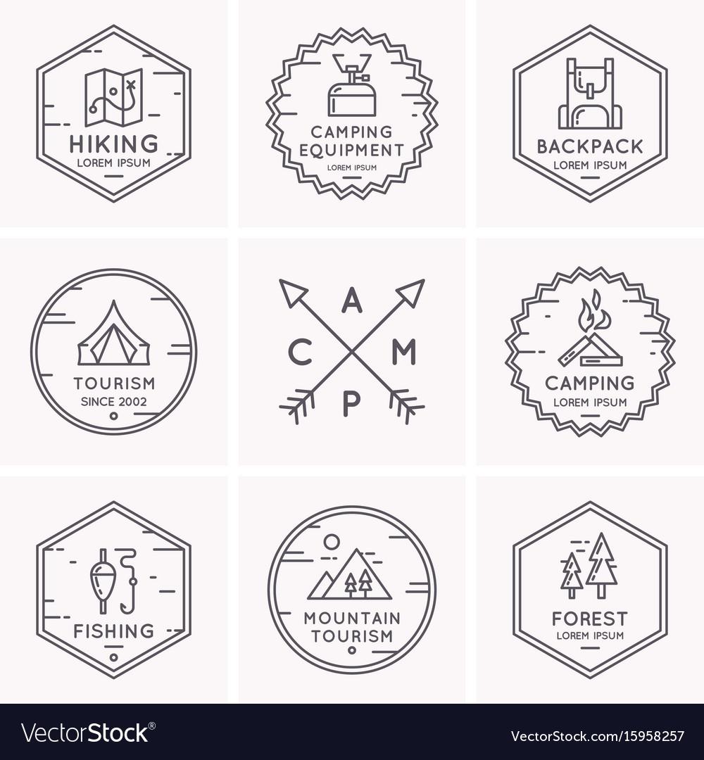 Set Of Logos And Symbols For Camping Royalty Free Vector