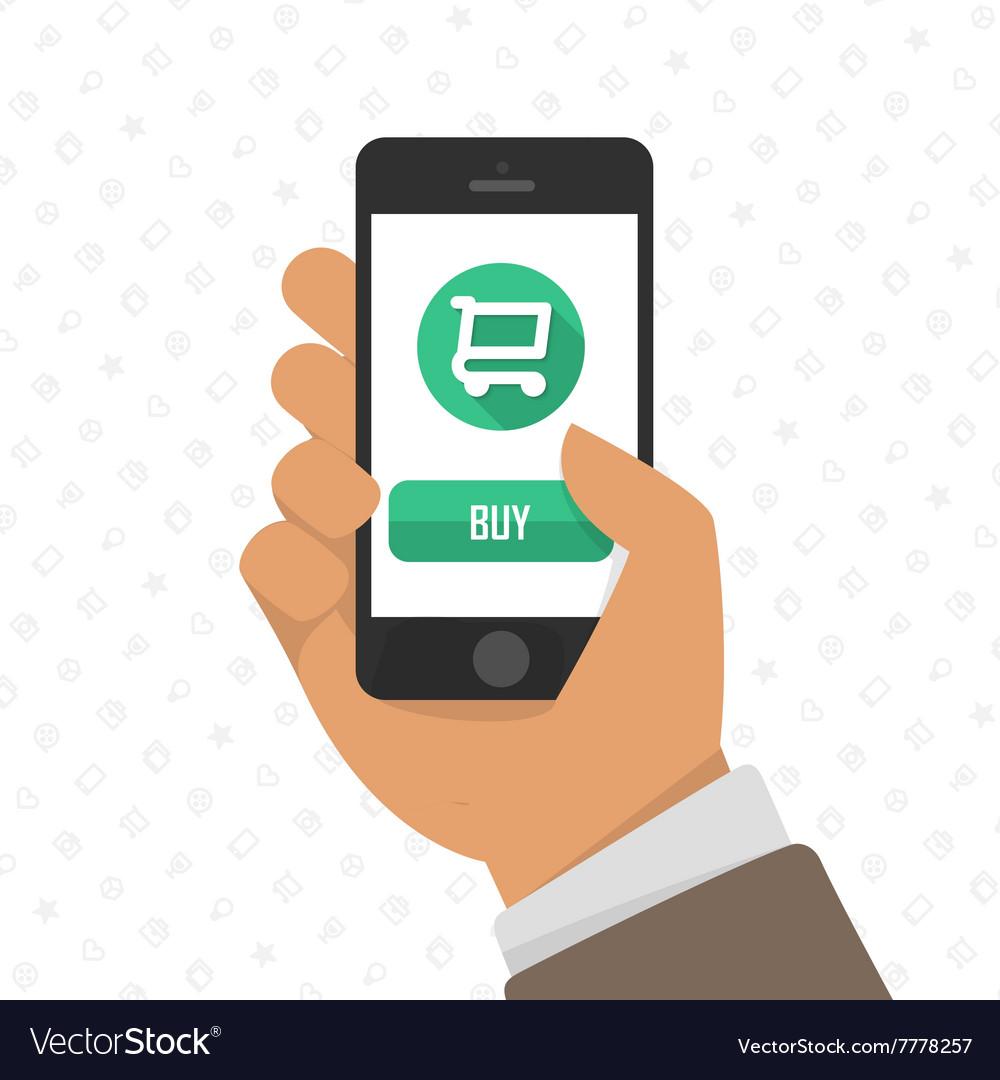 eb1c8a9e3ac Shopping via mobile phone Royalty Free Vector Image