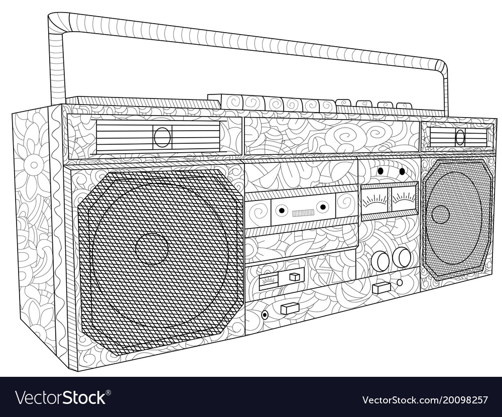 Tape deck or tape machine antistress coloring