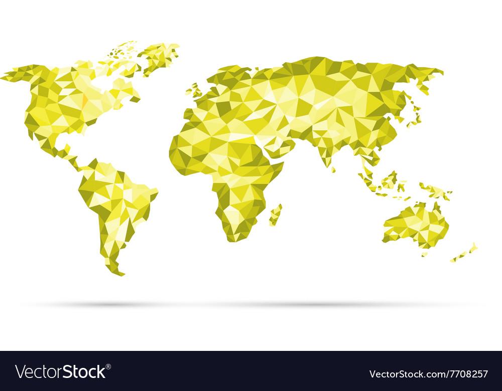 World Map polygonal precision low-poly yel