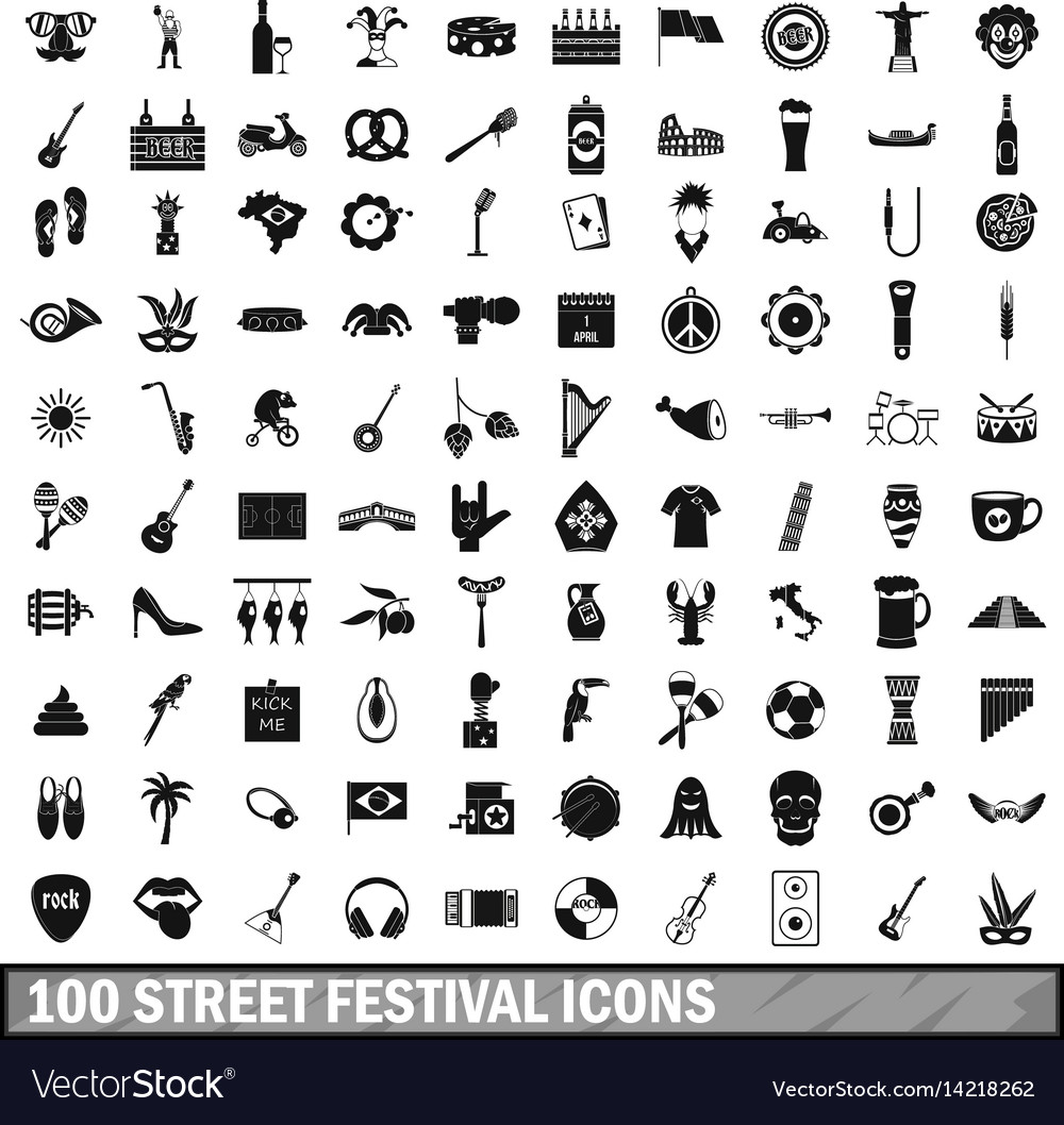 100 street festival icons set simple style vector image