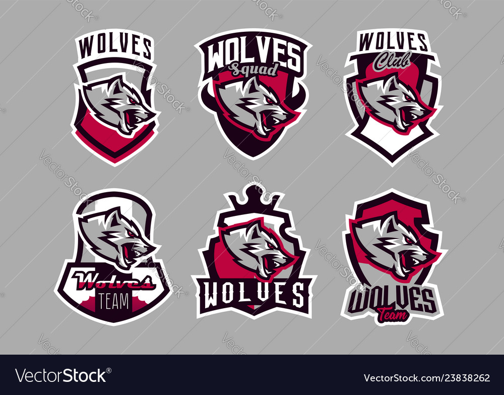 A set colorful emblems logos snarling wolf