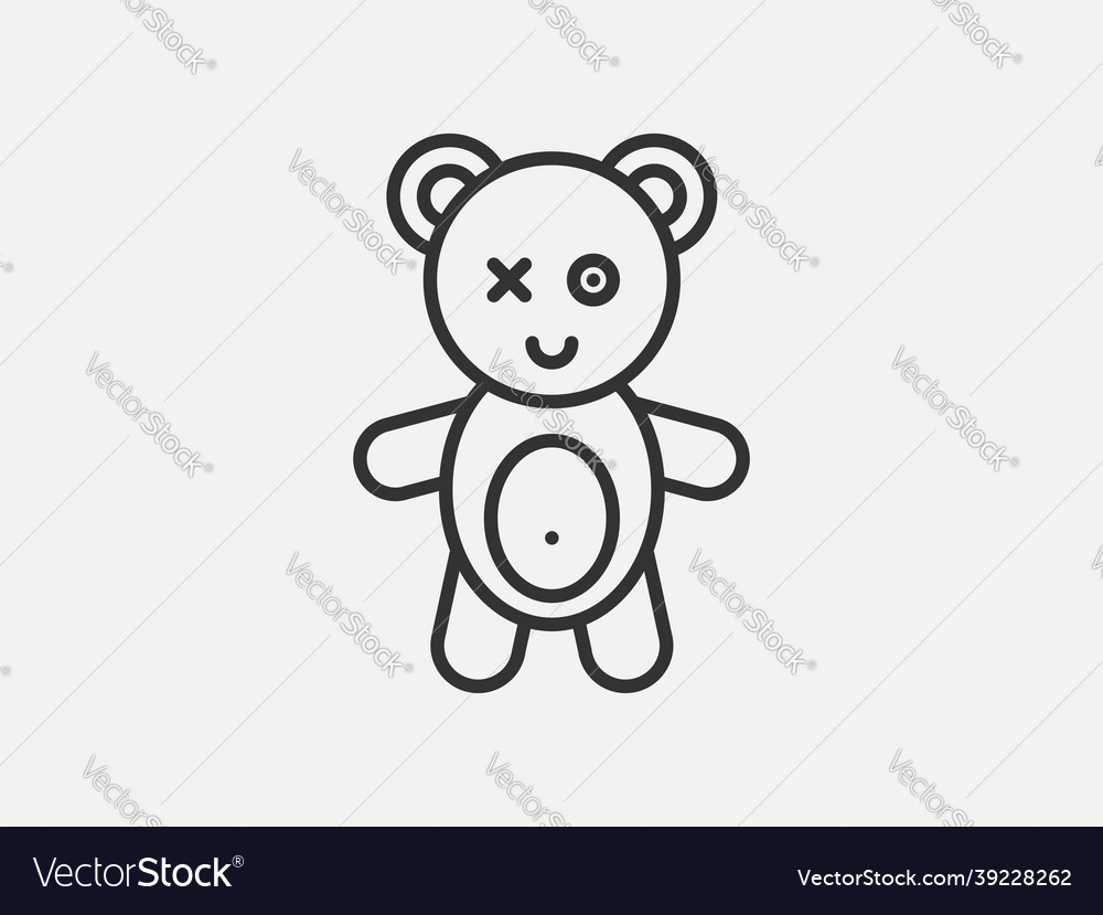Bear toy icon on white background line style