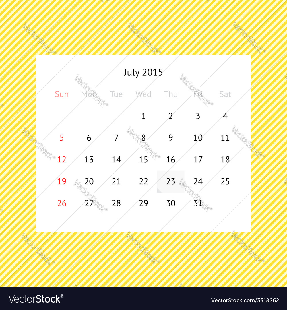 Calendar page for July 2015