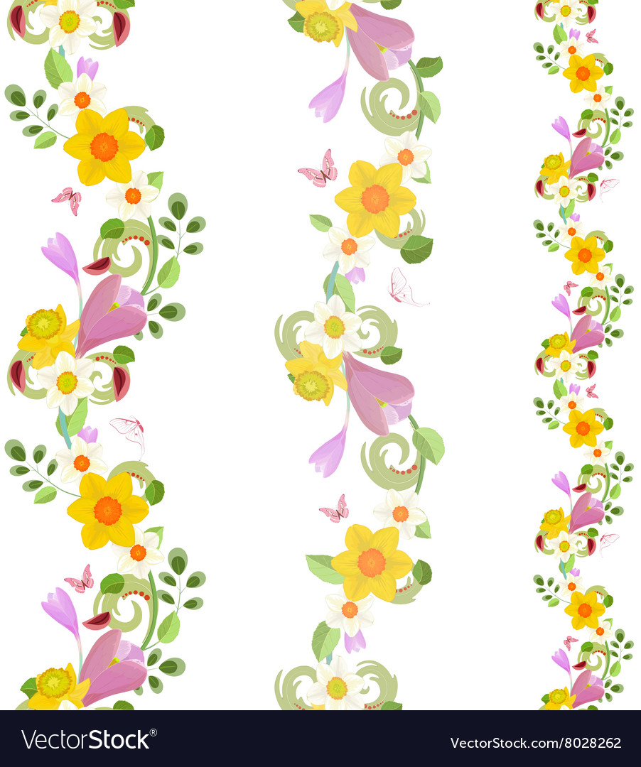 Collection vertical seamless borders with spring