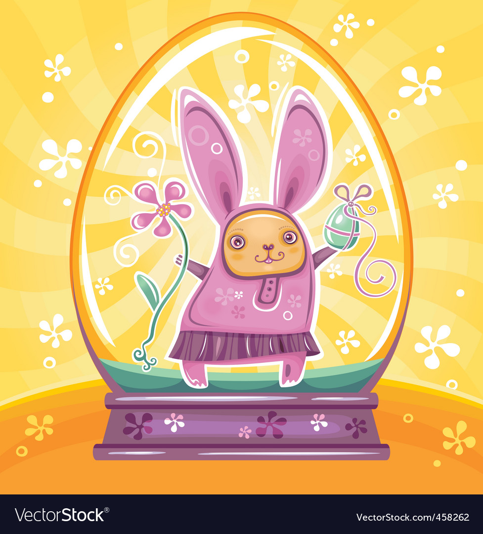 Easter bunny inside of snowdrop vector image