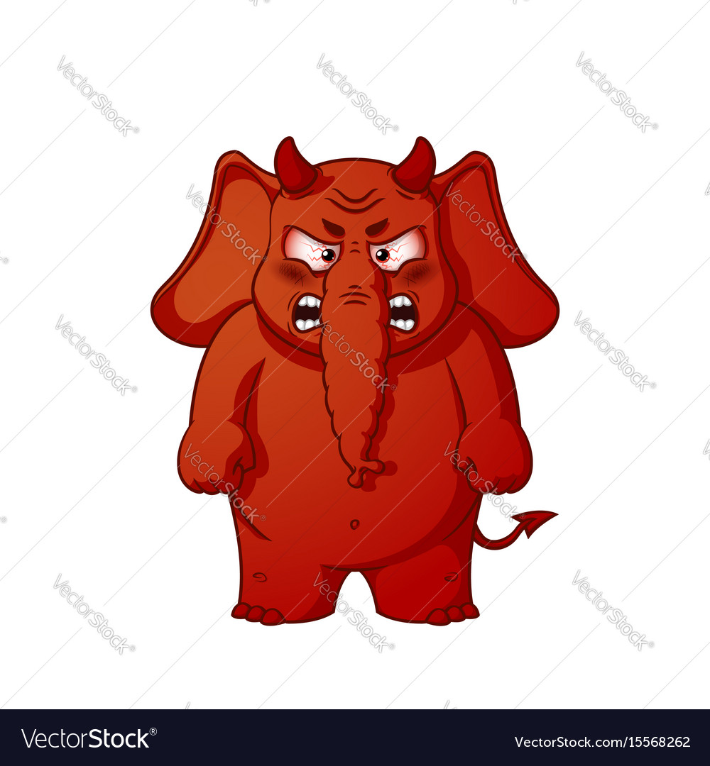 Elephant character angry red with horns devil