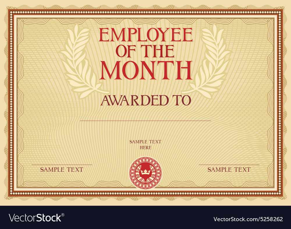 Employee Of The Month Certificate Template Pdf from cdn3.vectorstock.com