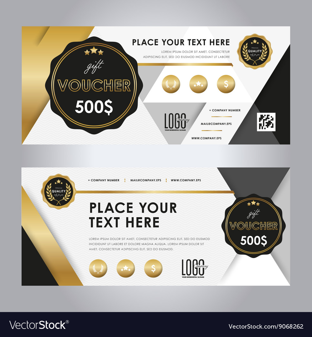 Gold gift voucher template layout