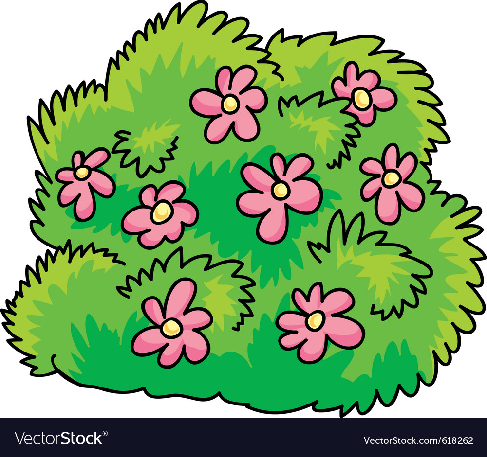 Green Bush With Pink Flowers Royalty Free Vector Image