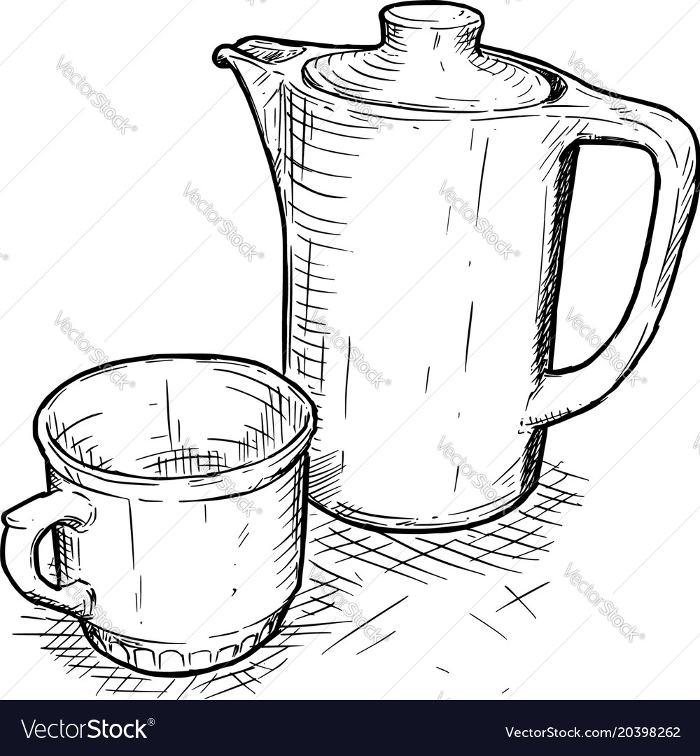 Hand drawing of teapot and cup