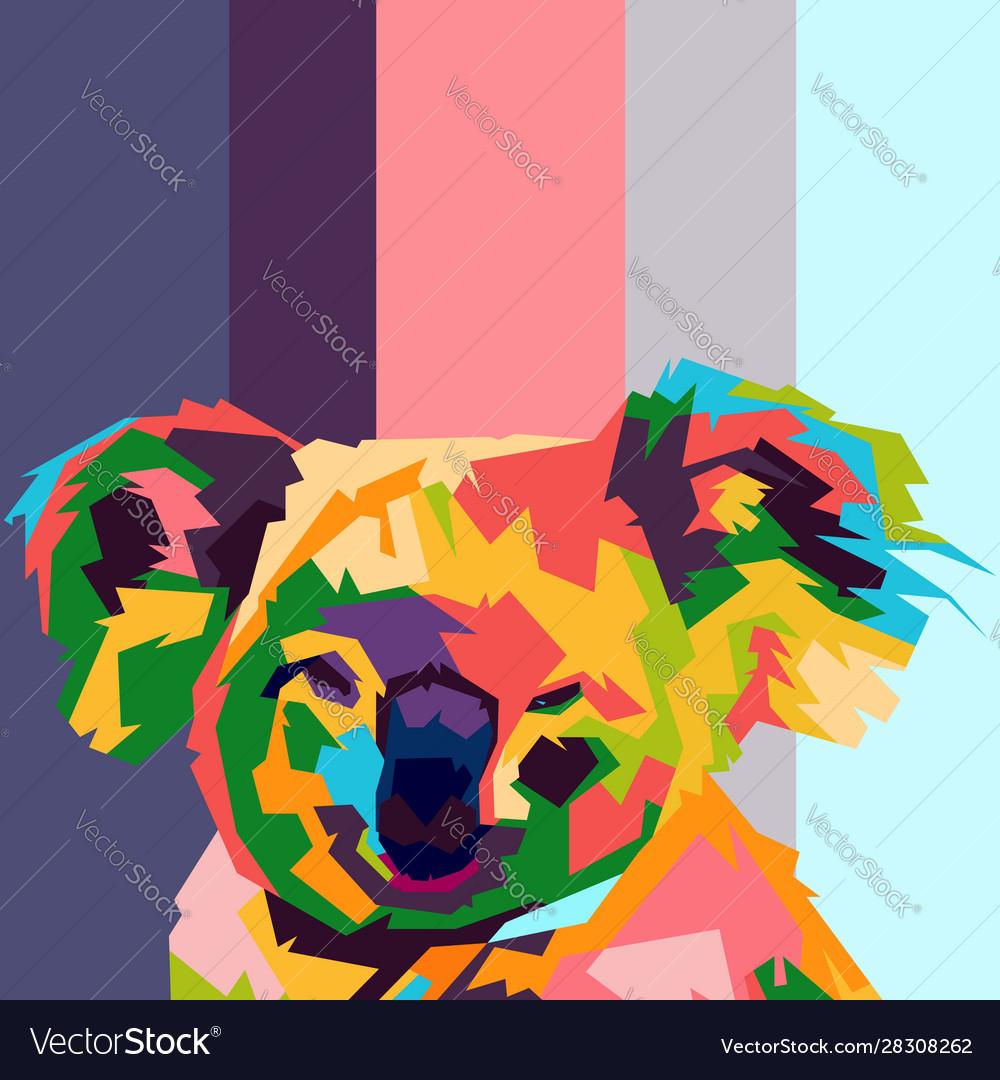 Koala face pop art
