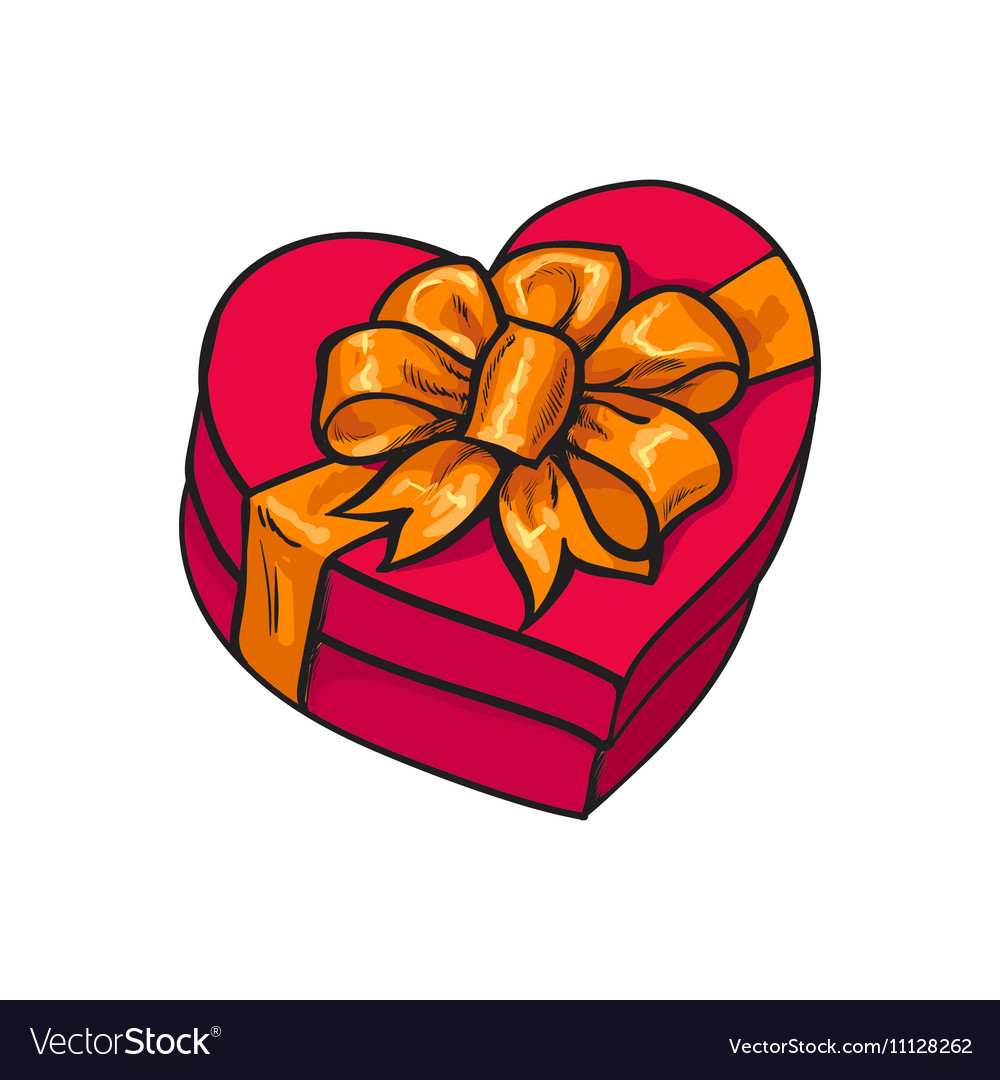 Red heart shaped gift box with bow and ribbon vector image