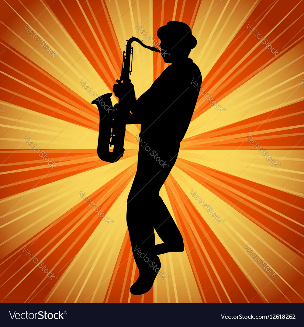 Sax musician silhouette on the vintage background