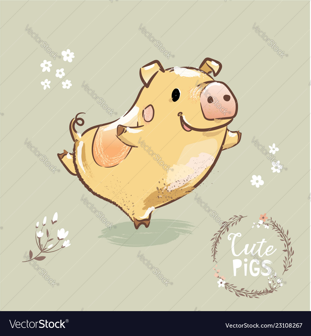 2019 new year symbol pig dancing cute lunar sign