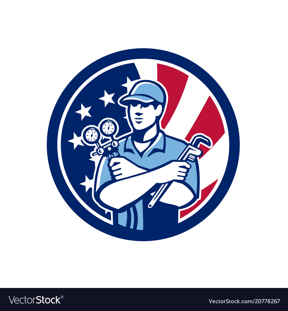 American air-con serviceman usa flag icon