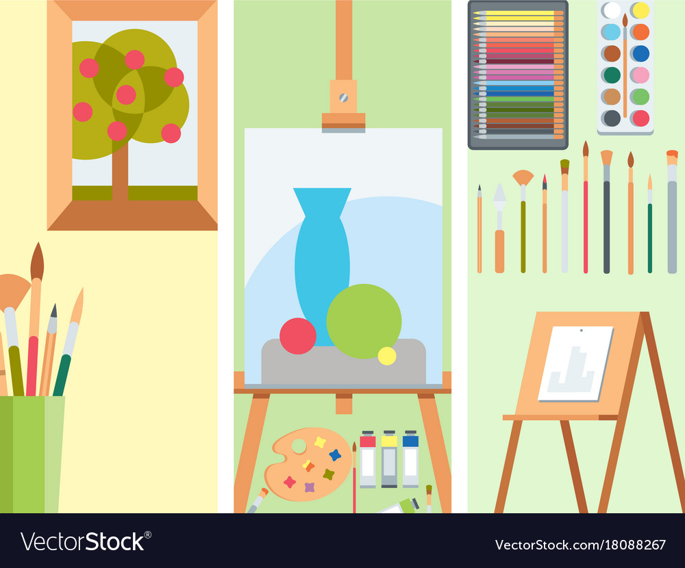 Art tools flat painting cards details stationery