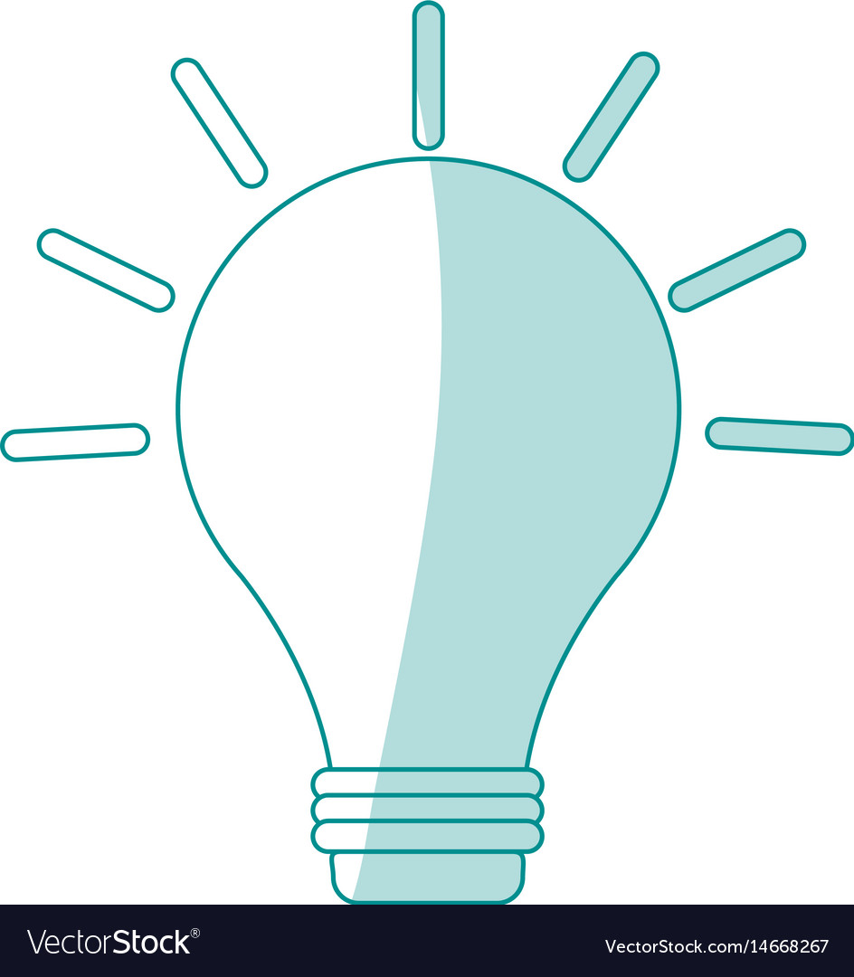 Blue silhouette shading image light bulb on with