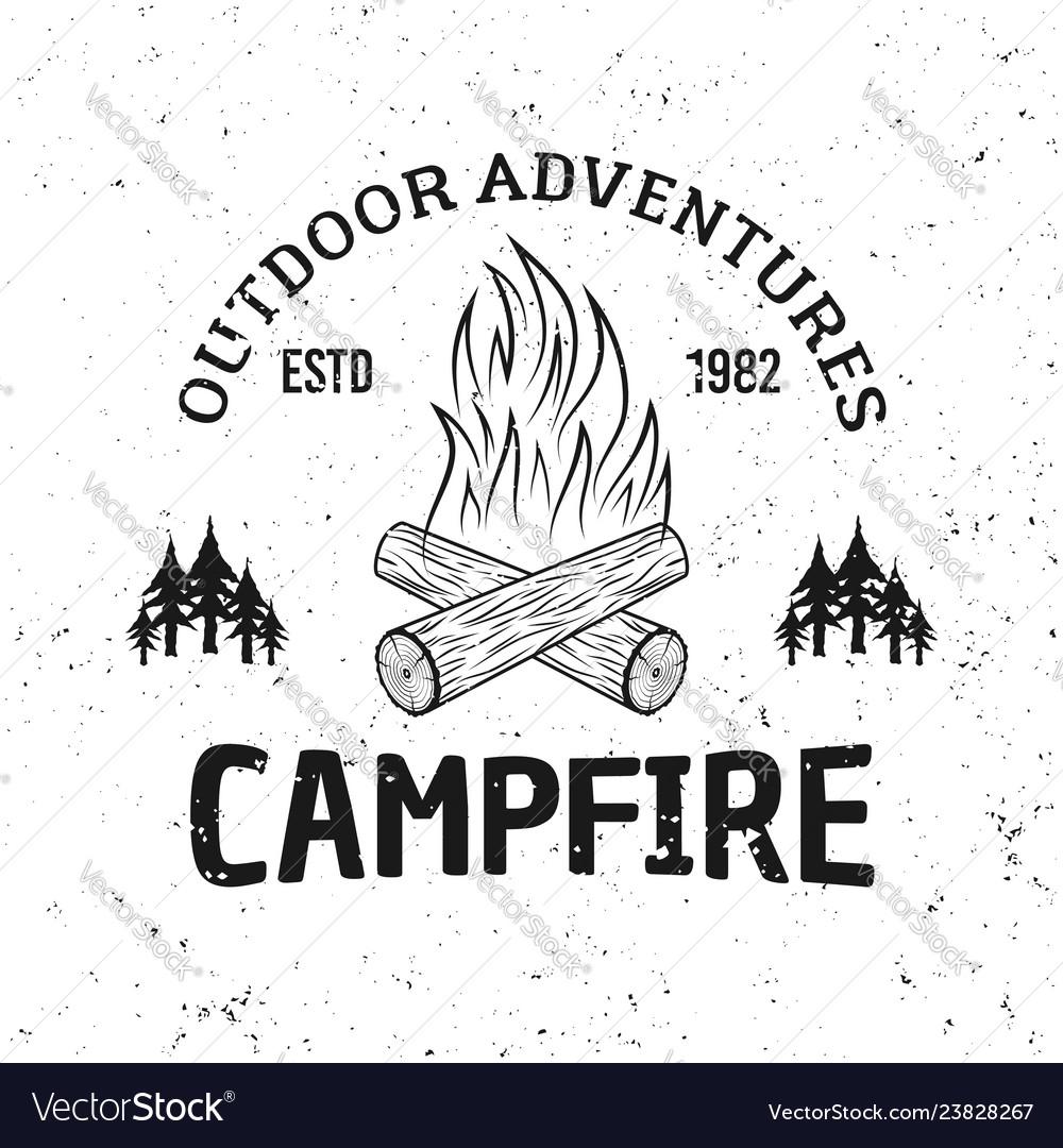 Camping fire vintage monochrome emblem