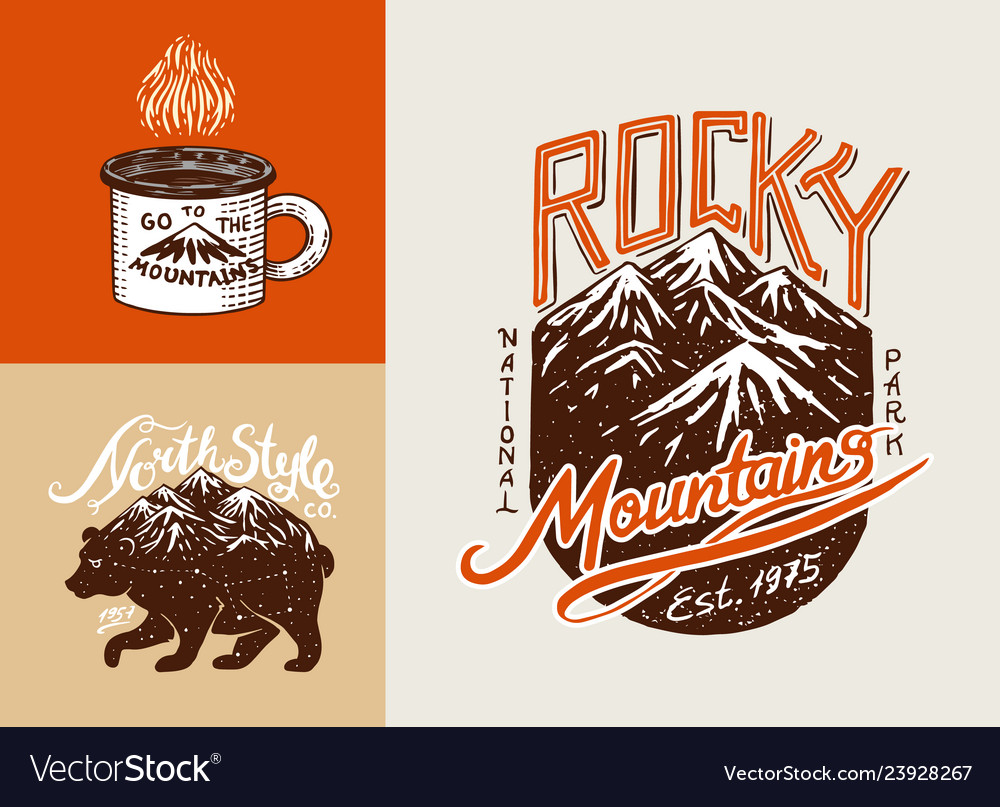 Camping logo and labels mountains and brown bear