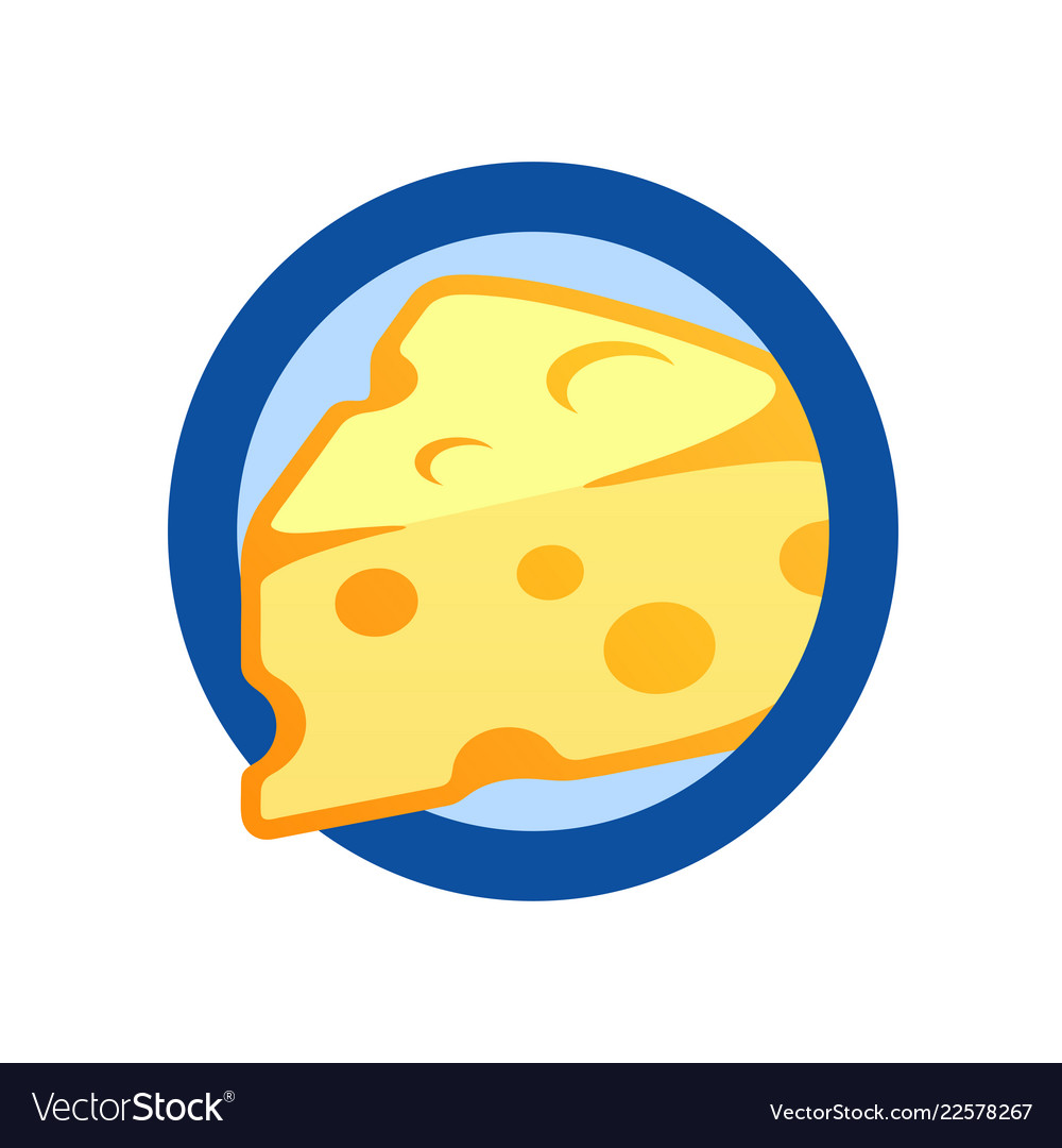 Cheese piece in round emblem flat logo
