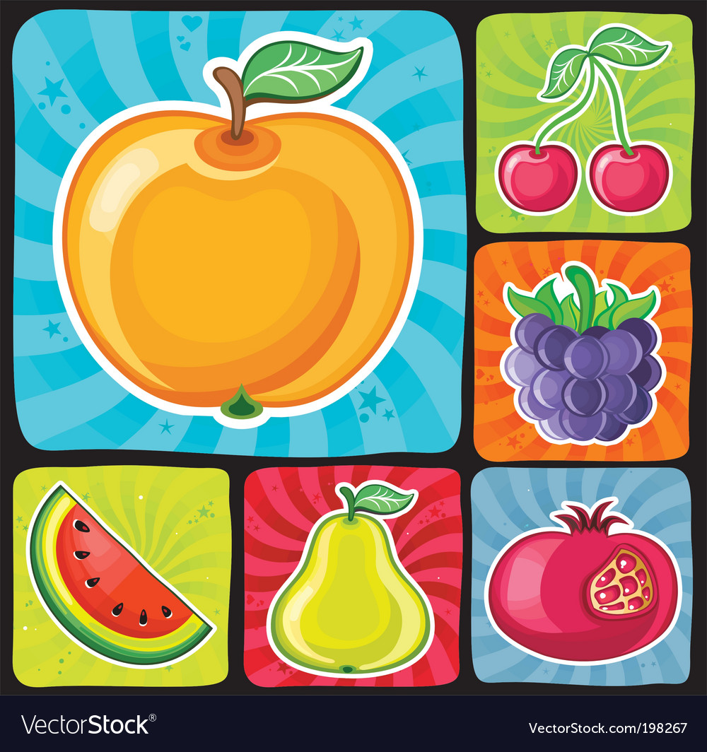 Colorful fruity icons