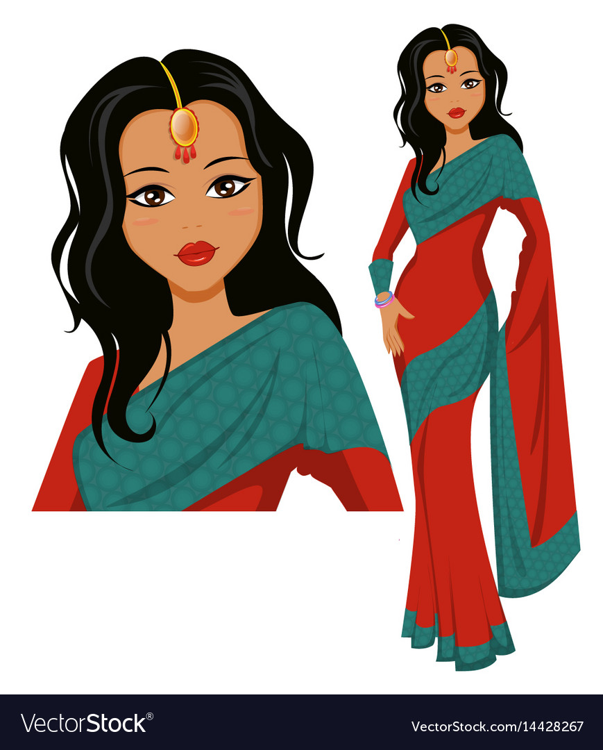 Cute indian woman wearing a beautiful saree eps10 vector image