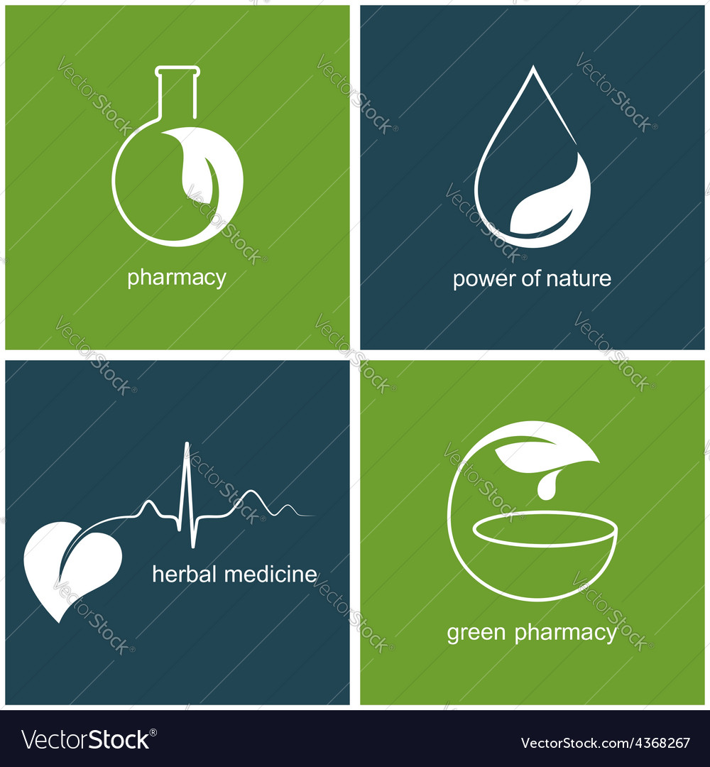 Emblems for green pharmacy and herbal medicine
