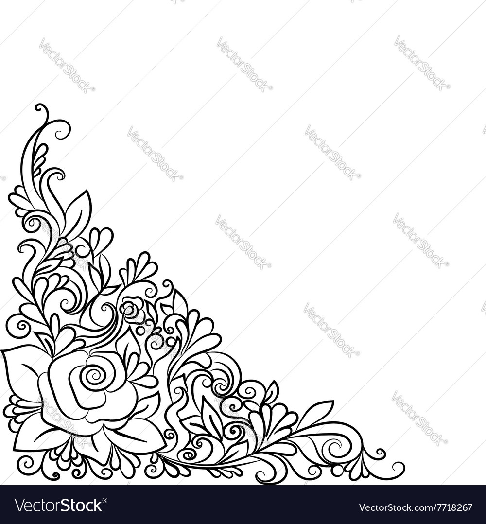 Hand drawn decorative floral element