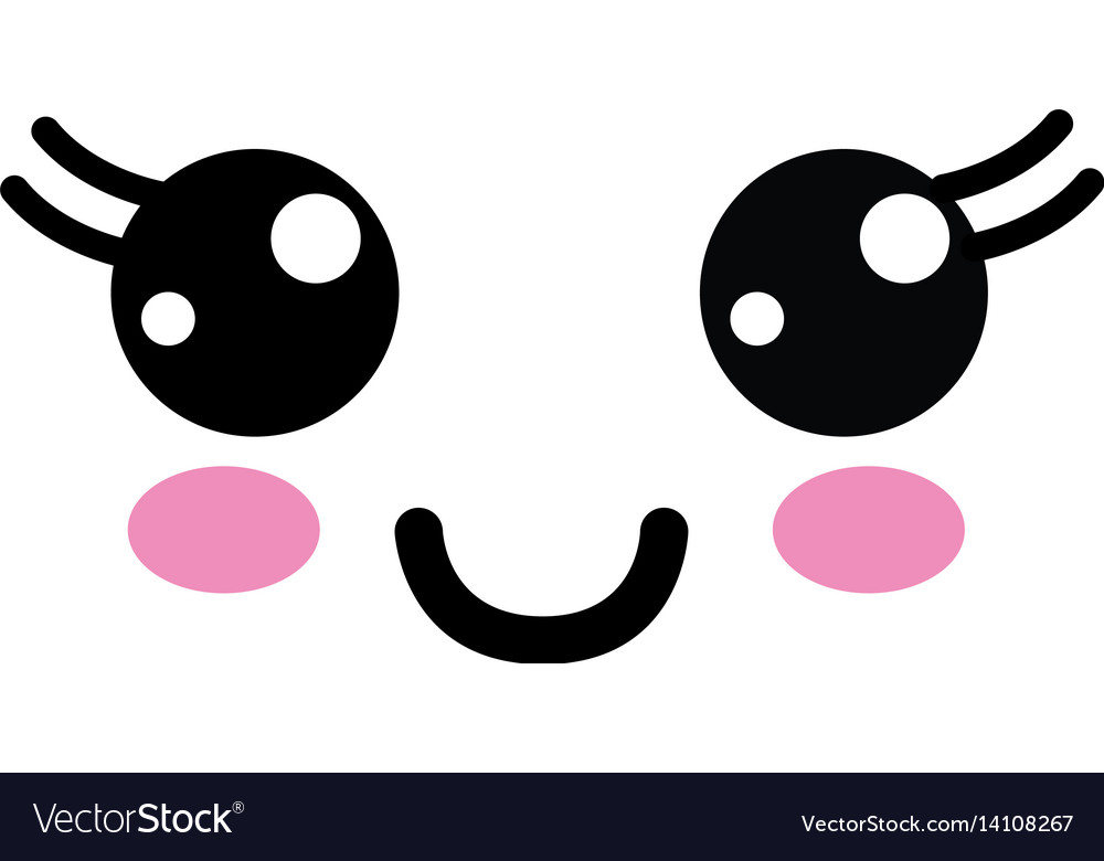 Kawaii cute happy face with mouth and cheeks vector image