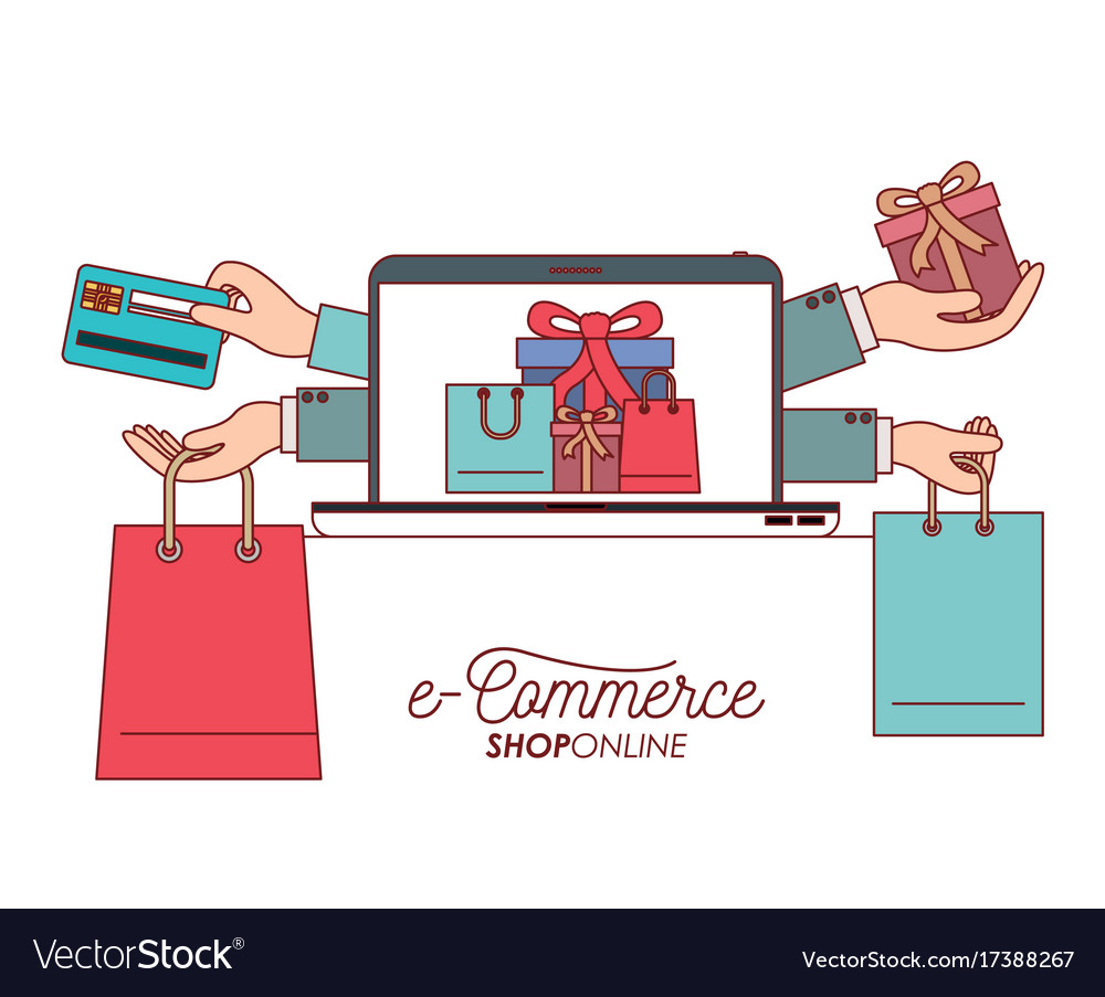 Laptop with wallpaper of set gift and bag shopping