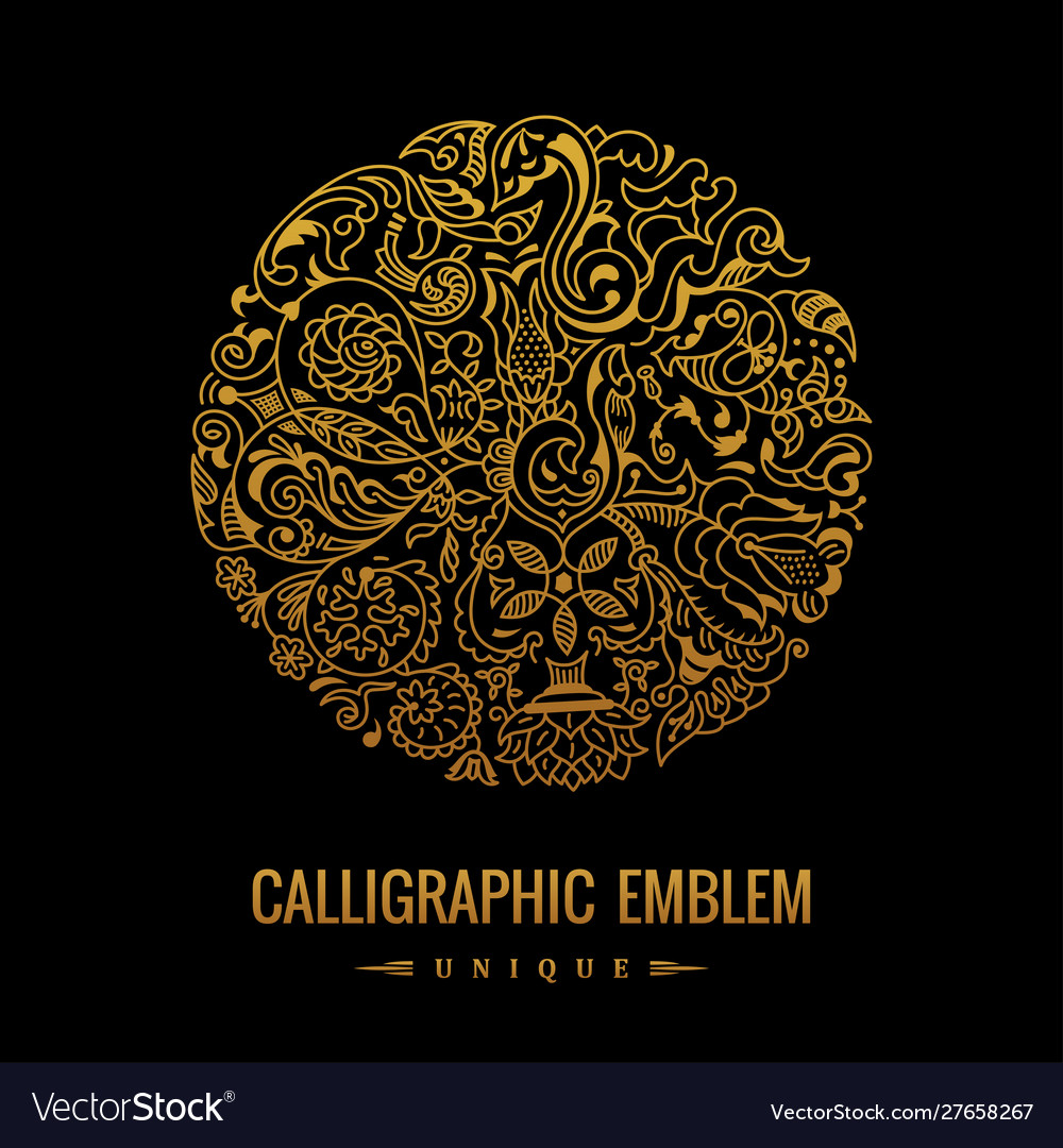 Round logo golden elegant calligraphic